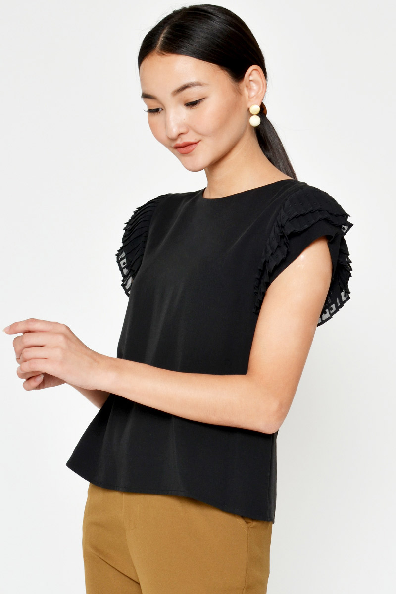 SOVIE LAYERED PLEATED SLEEVE TOP