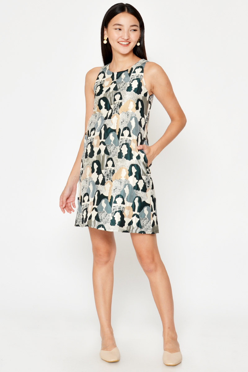 YVIE JACQUARD SHIFT DRESS