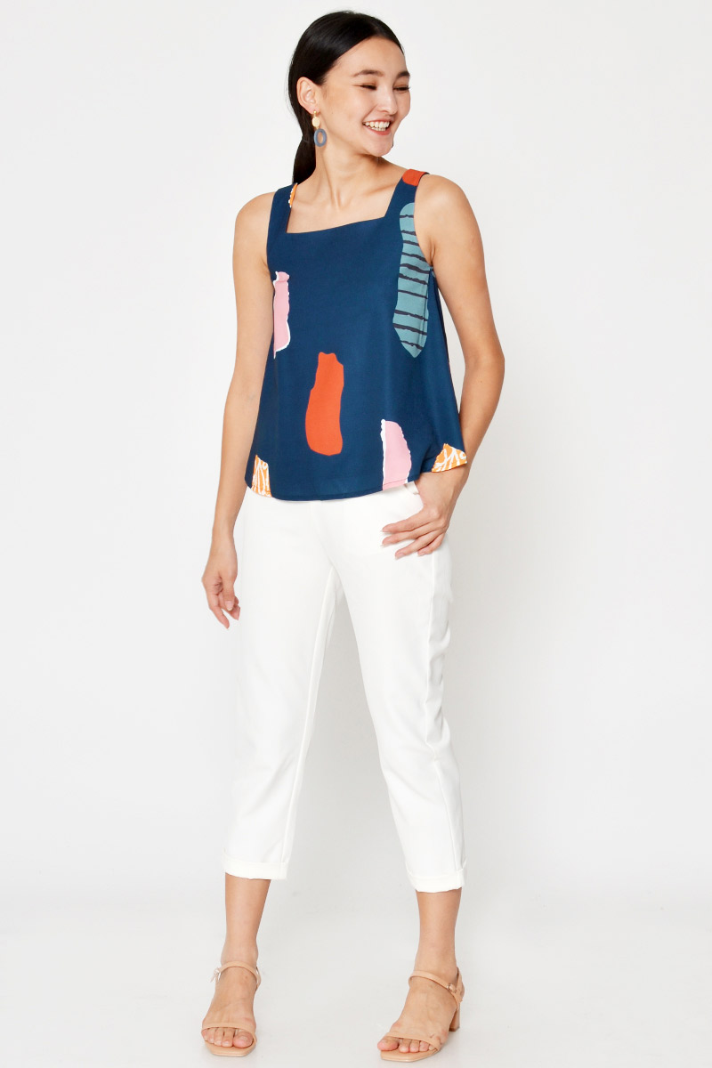 BRENCIS ABSTRACT PRINT SQUARENECK TOP