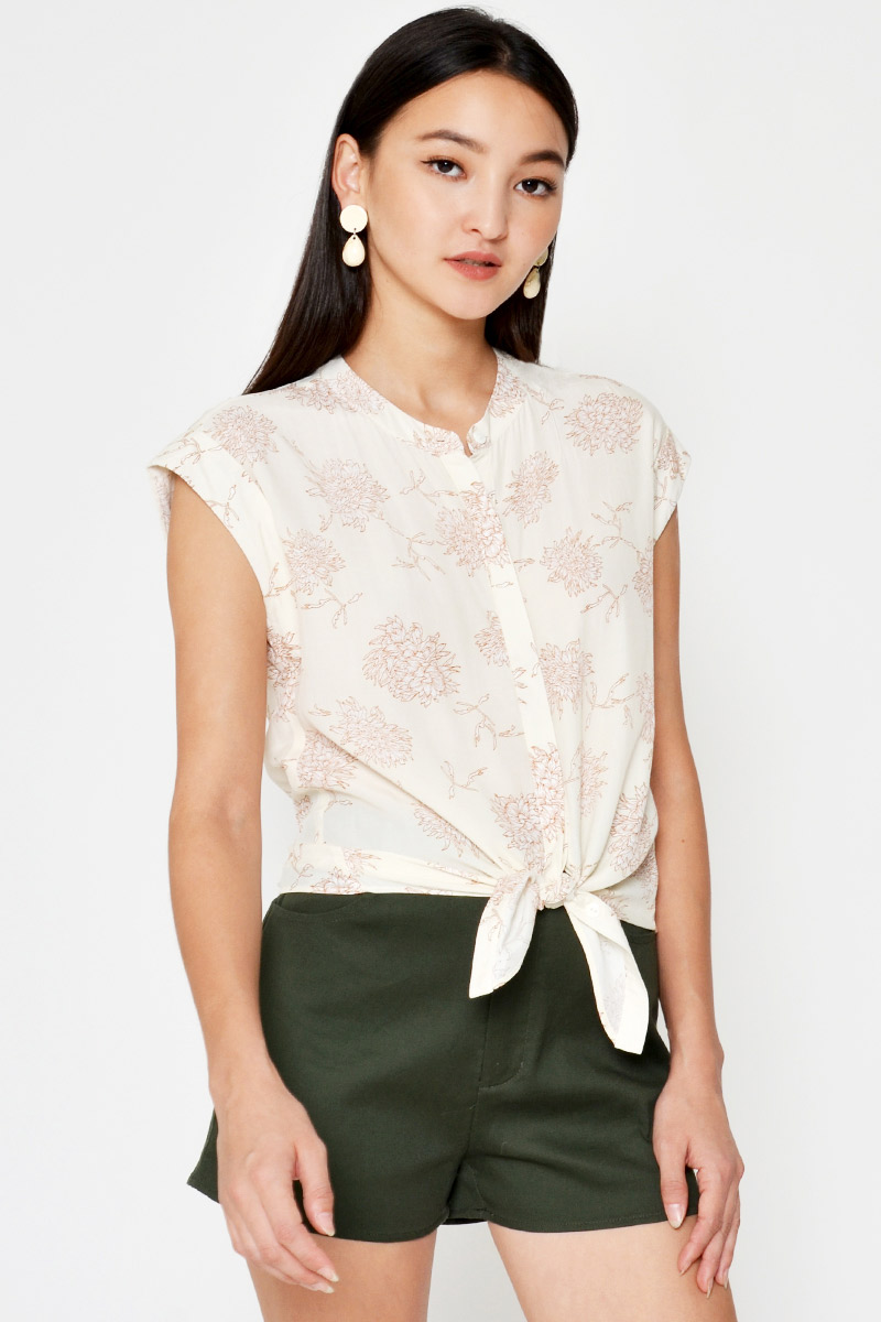 PATRICE FLORAL BUTTONDOWN TIEWAIST TOP