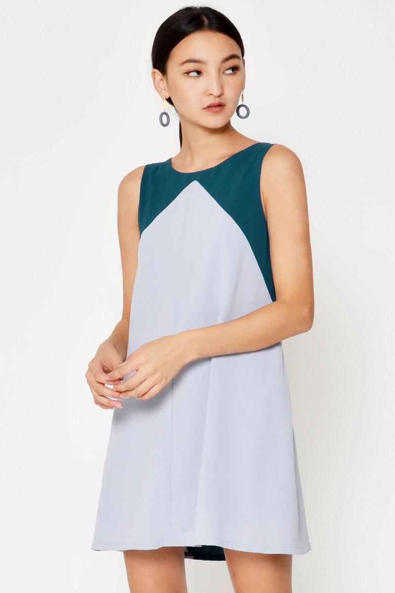 SHARON REVERSIBLE COLOURBLOCK TRAPEZE DRESS