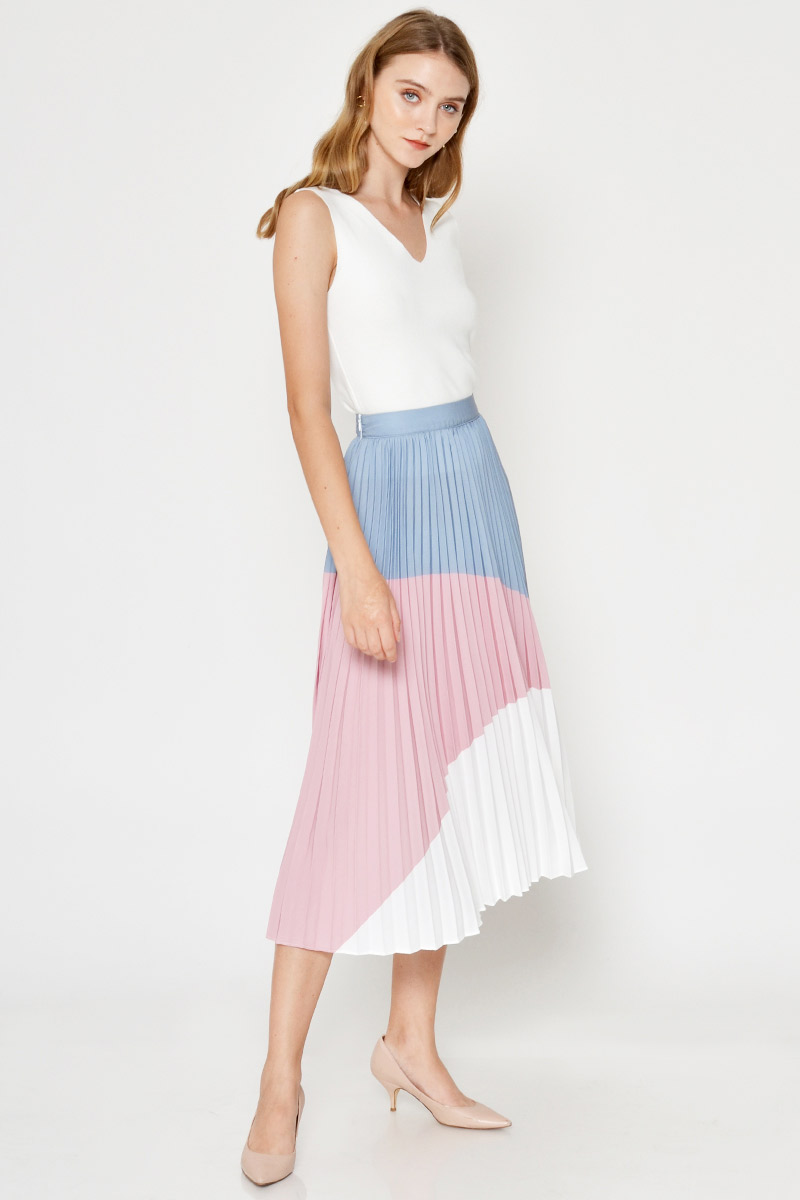 *BACKORDER* EDALINE COLOURBLOCK PLEATED MIDI SKIRT