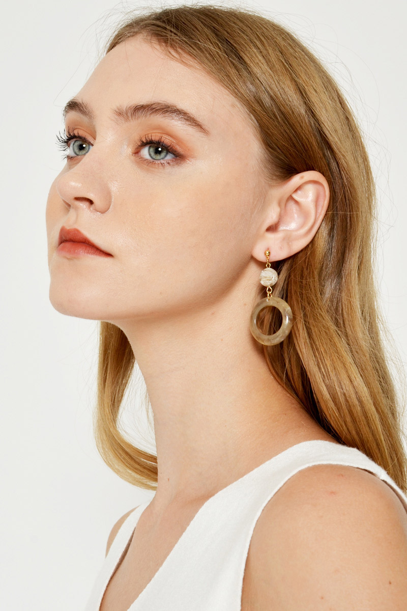 MARBLE DANGLE RING EARRINGS