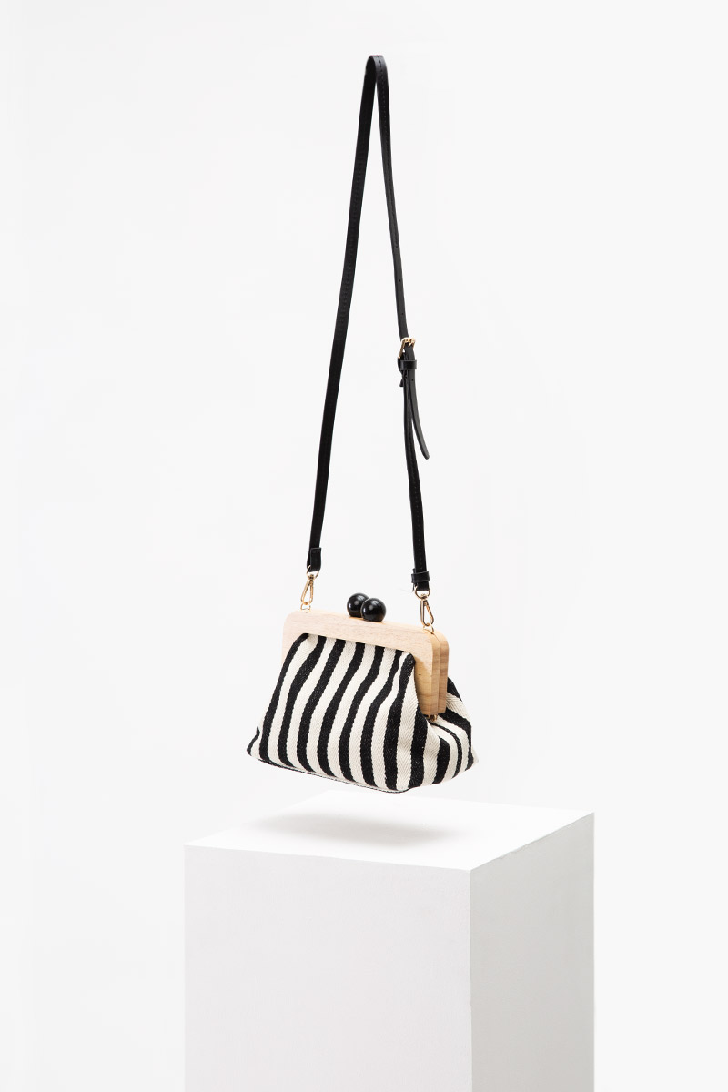 WOODEN STRIPE CLUTCH/SLING