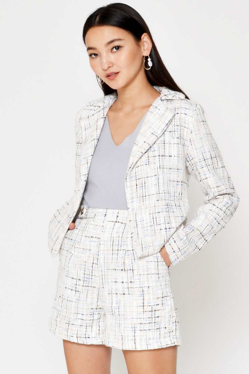 ANDREA TWEED BIKER JACKET