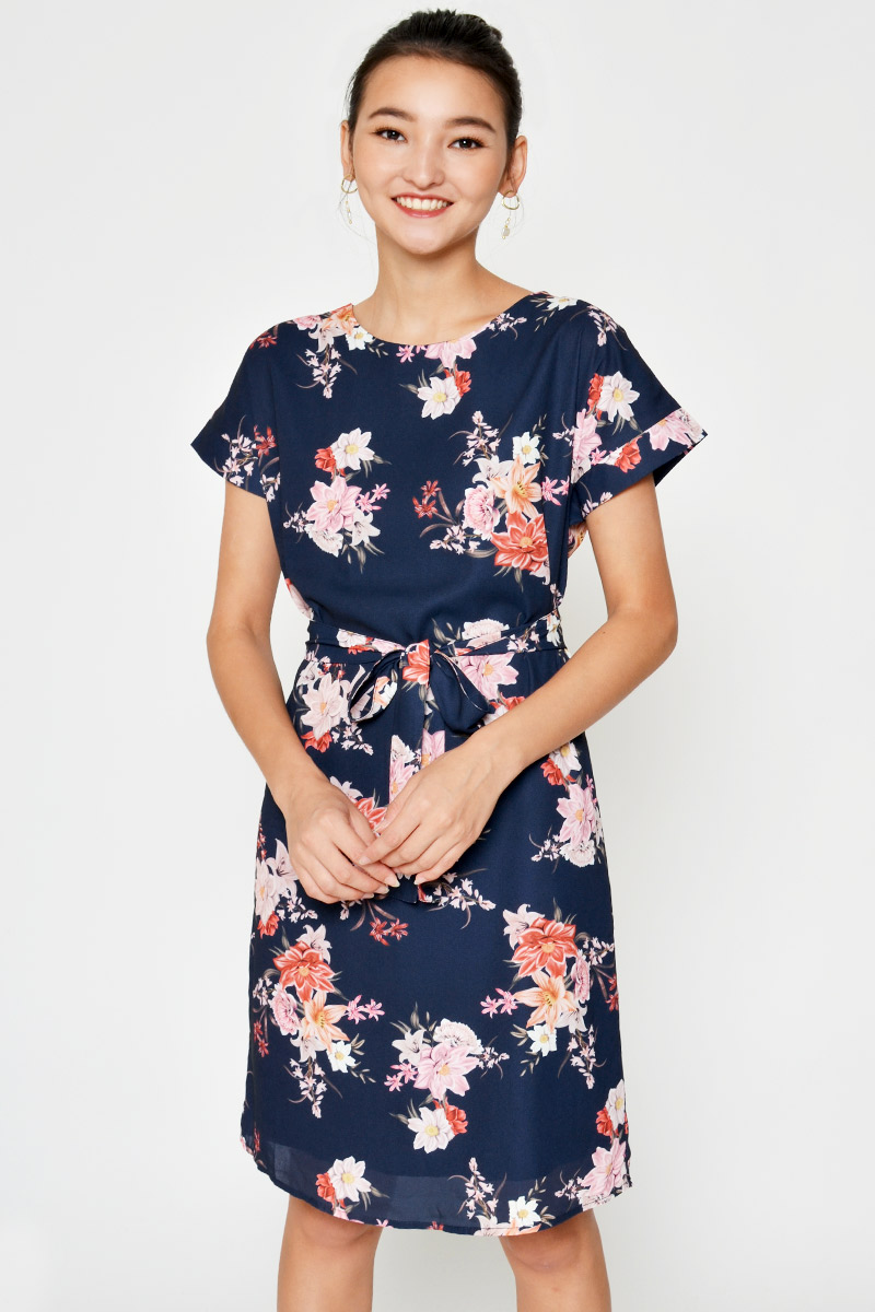 ANITA FLORAL MIDI DRESS W SASH