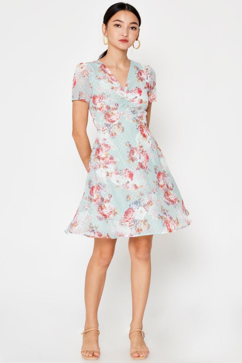 ARLETH FLORAL FLARE DRESS