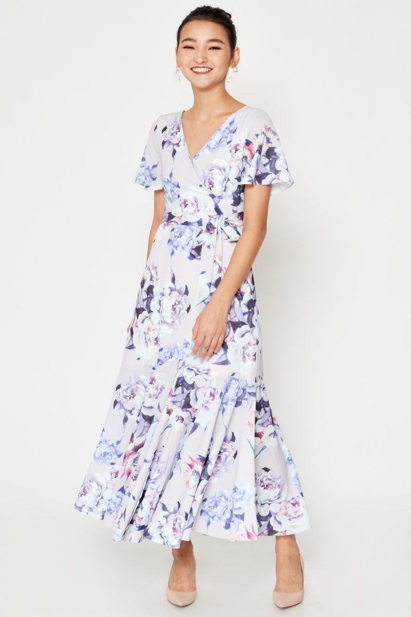 ASHLYN FLORAL WRAP MAXI DRESS W SASH
