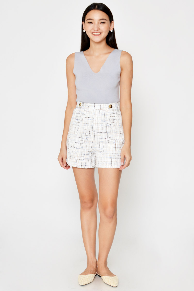 COLBY HIGHWAIST BUTTON TWEED SHORTS