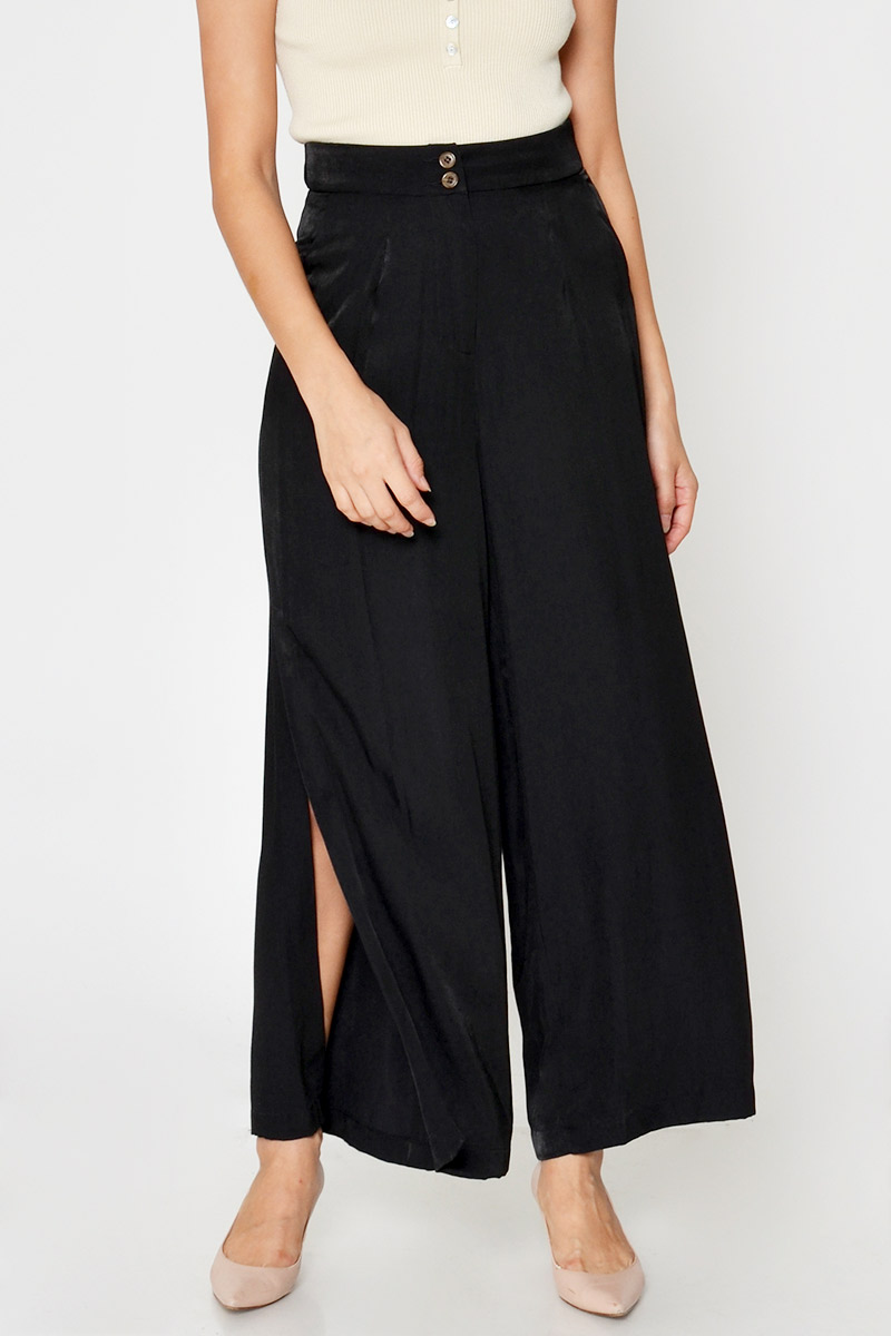HARRIET TENCEL SLIT FLARE PANTS