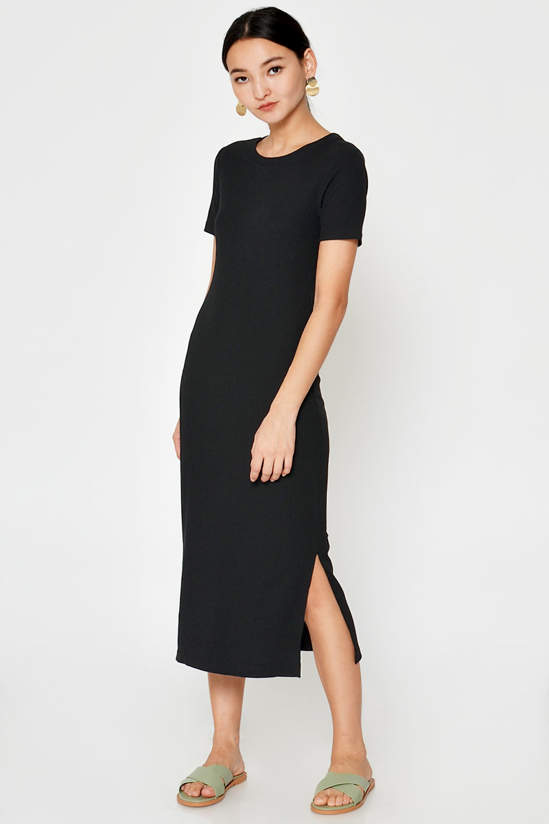 HORACE SLIT RIBBED MIDI DRESS