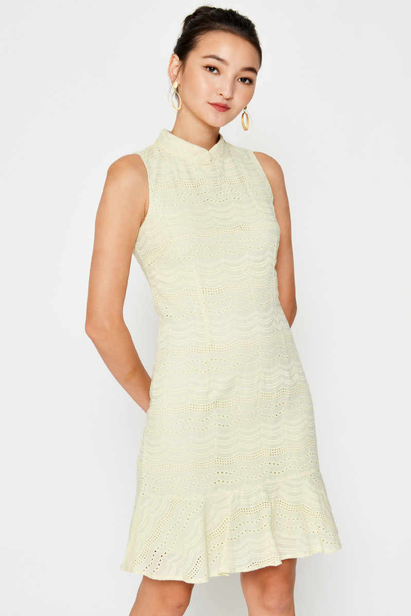 IVY EYELET DROPWAIST DRESS W DETACHABLE COLLAR