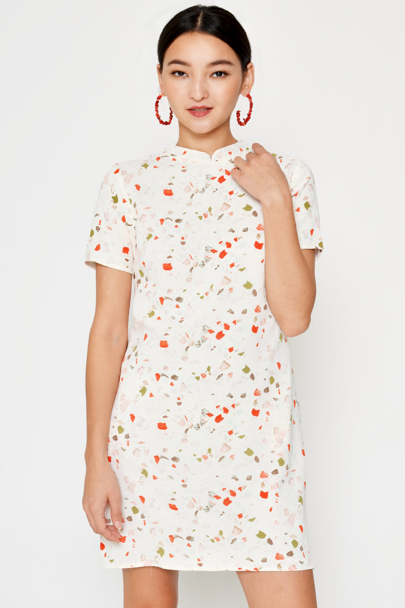 KARLA TERRAZZO CHEONGSAM SHIFT DRESS