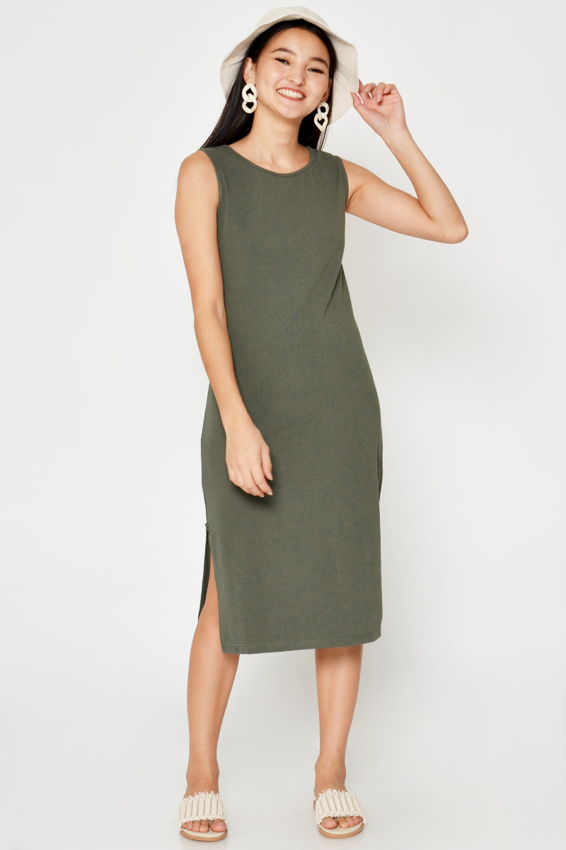 LEANDER SIDE SLIT MIDI DRESS
