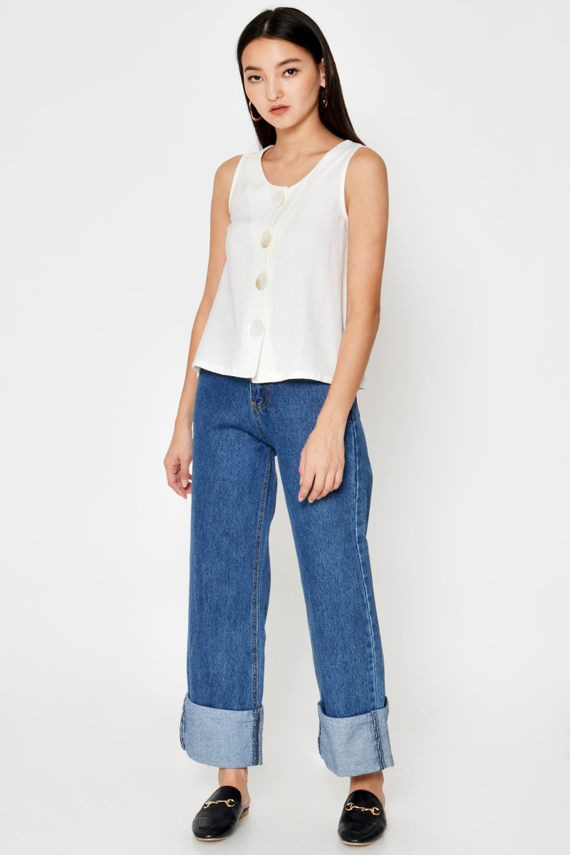 PARRY LINEN BUTTONDOWN TOP