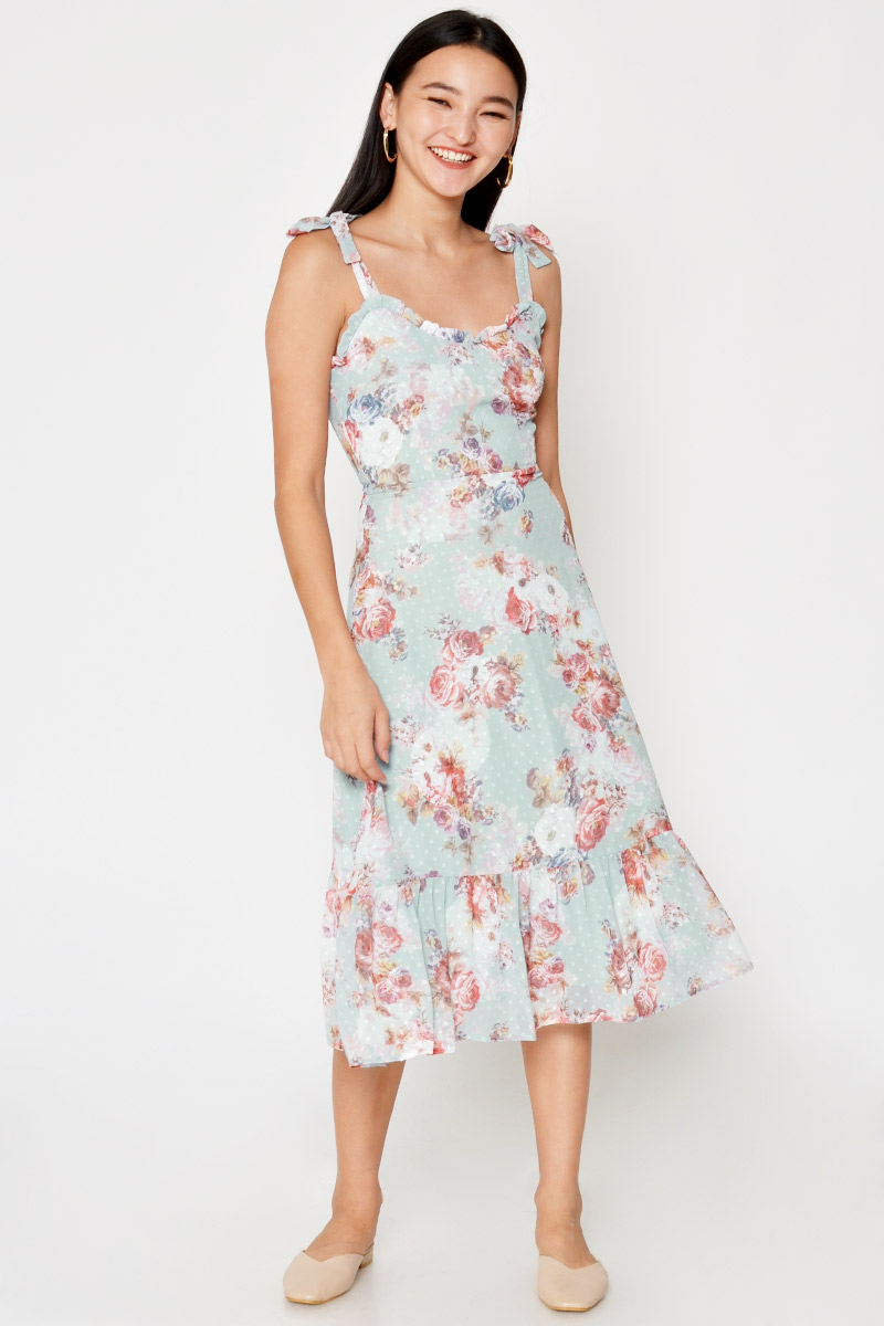 WENDY FLORAL TIE SHOULDER MIDI DRESS