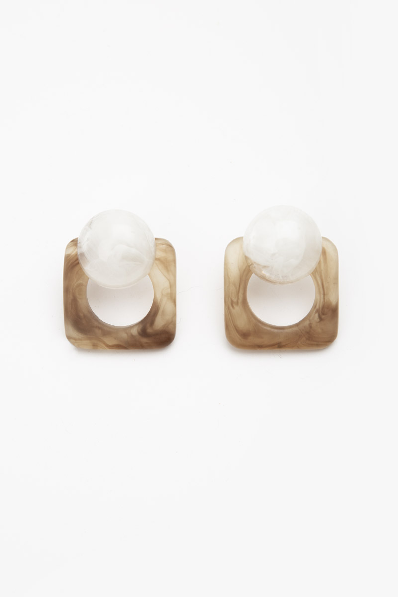 GEOMETRIC SHAPE MARBLE EARRINGS