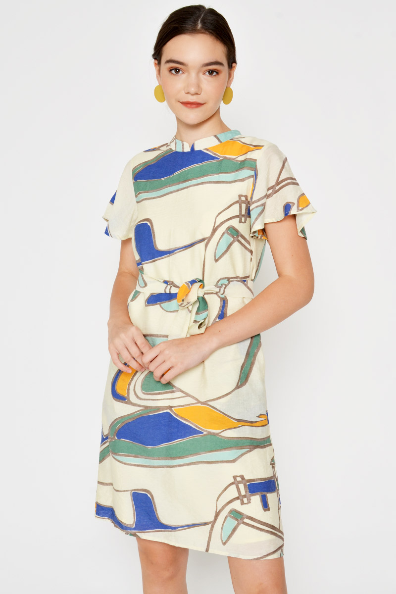 CHERON ABSTRACT CHEONGSAM W SASH