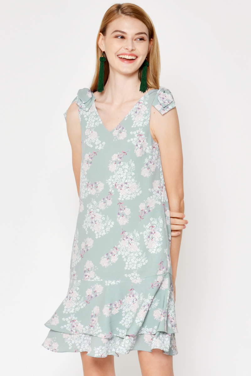 DRUSILLA FLORAL SHOULDER BOW LAYERED DRESS