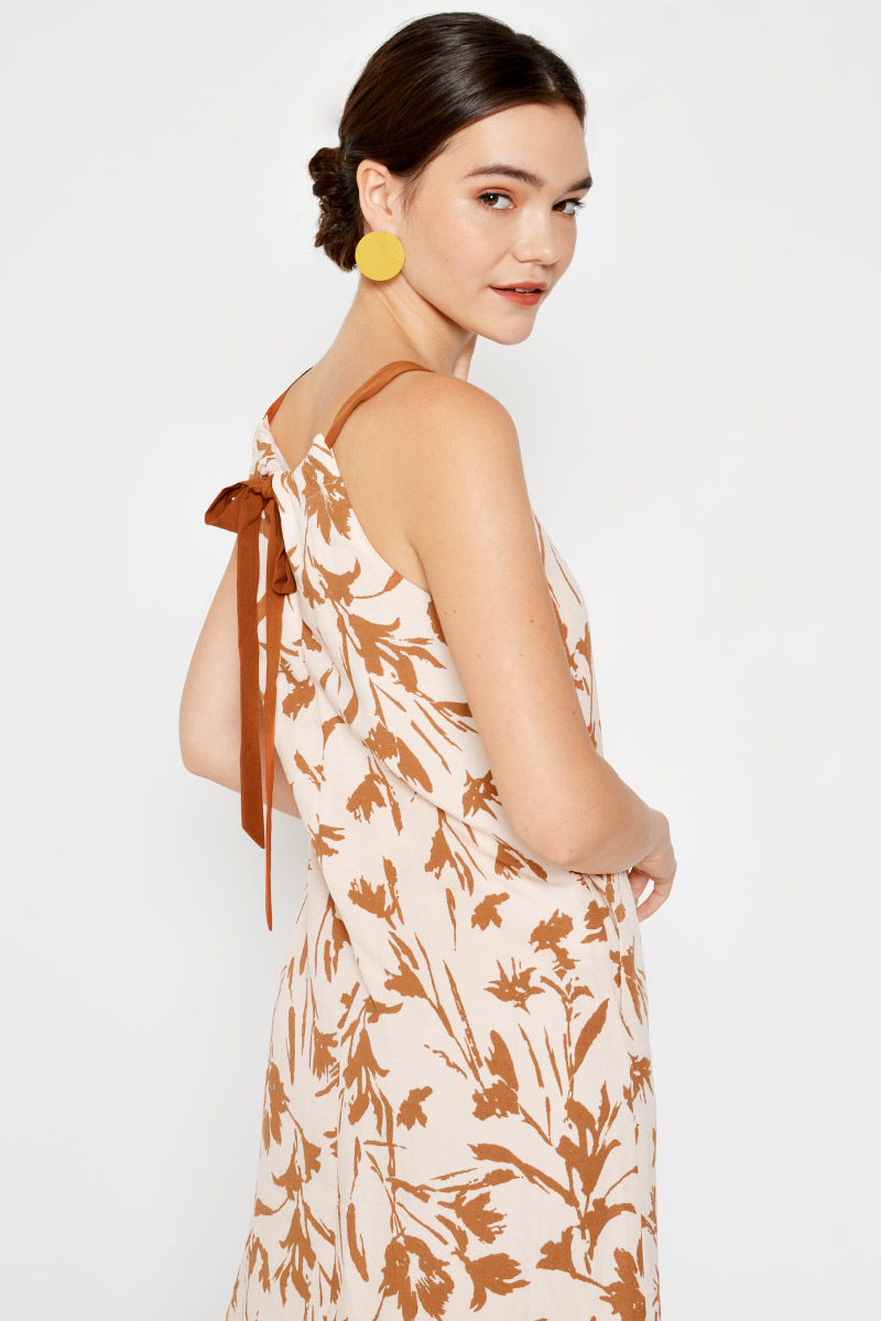 IDELA LEAF PRINT BACK TIE MIDI DRESS