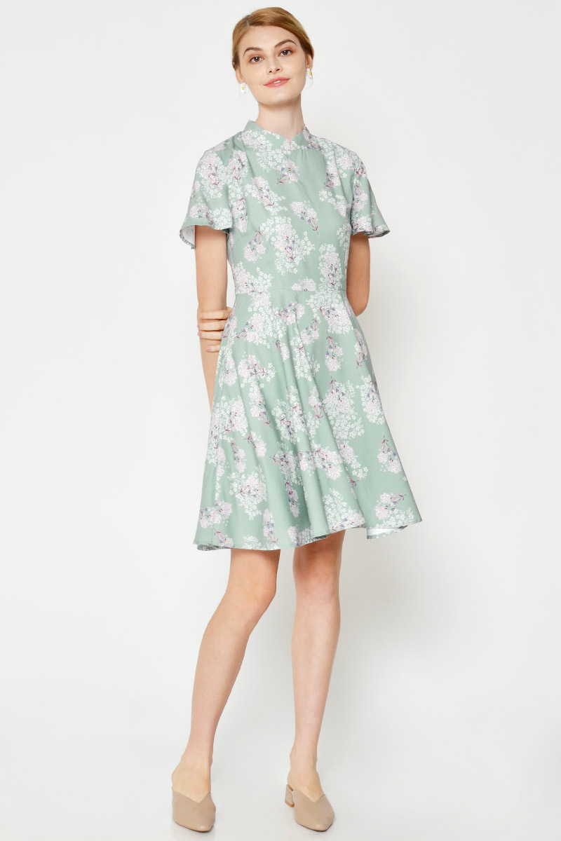 JOLINE FLORAL CHEONGSAM FLARE DRESS