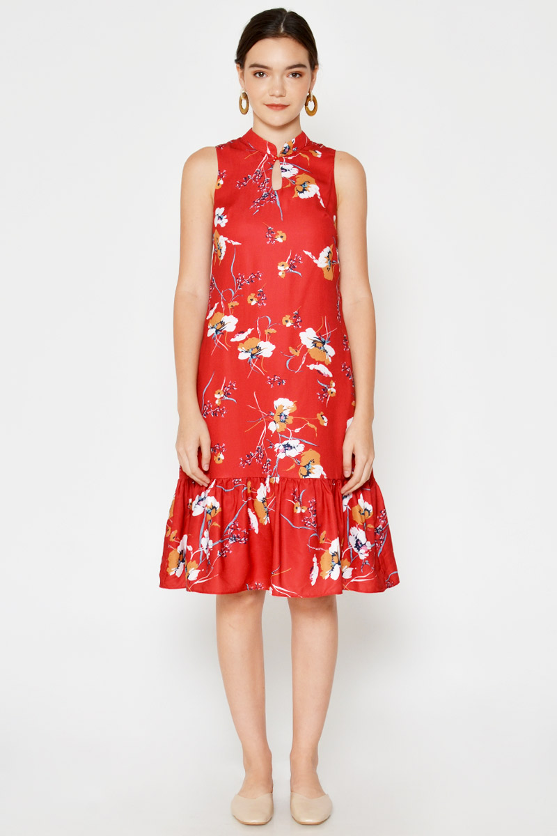 LAYNEE FLORAL DROPWAIST MIDI DRESS
