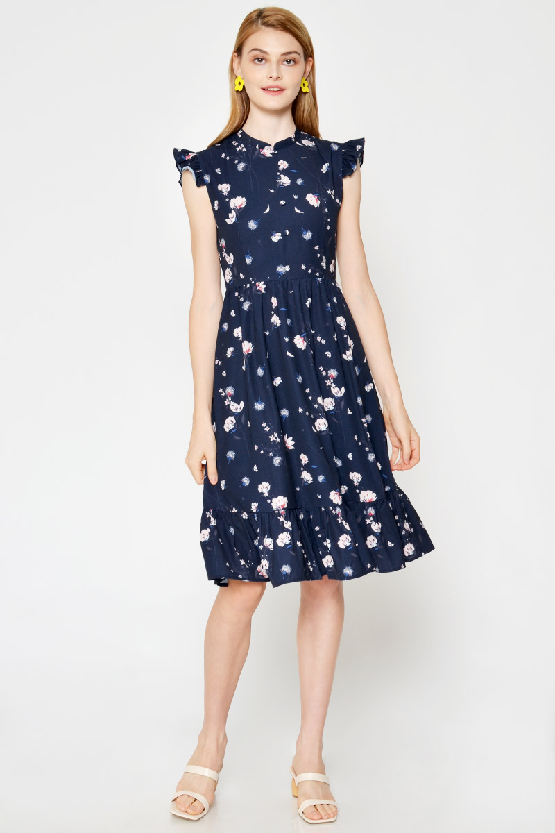 MIRELLE FLORAL RUFFLE SLEEVE MIDI DRESS