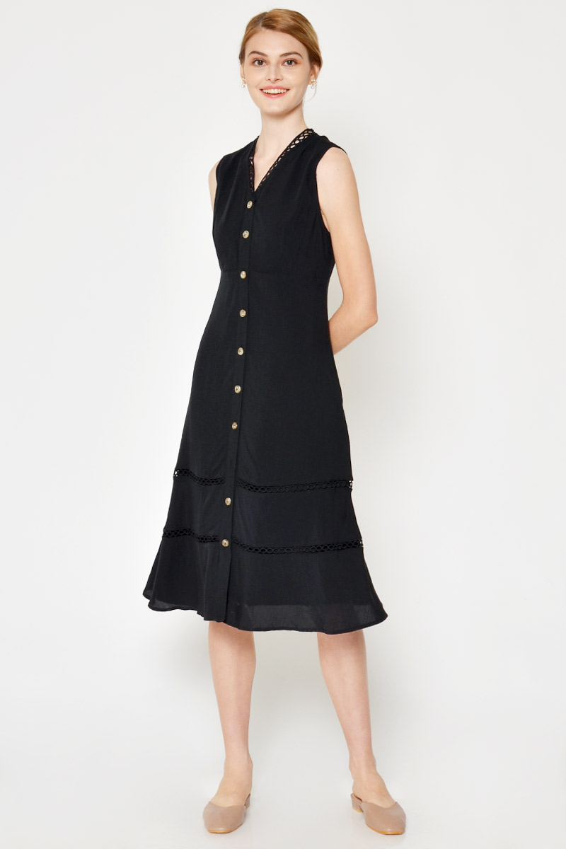 NOURA BUTTONDOWN MIDI DRESS