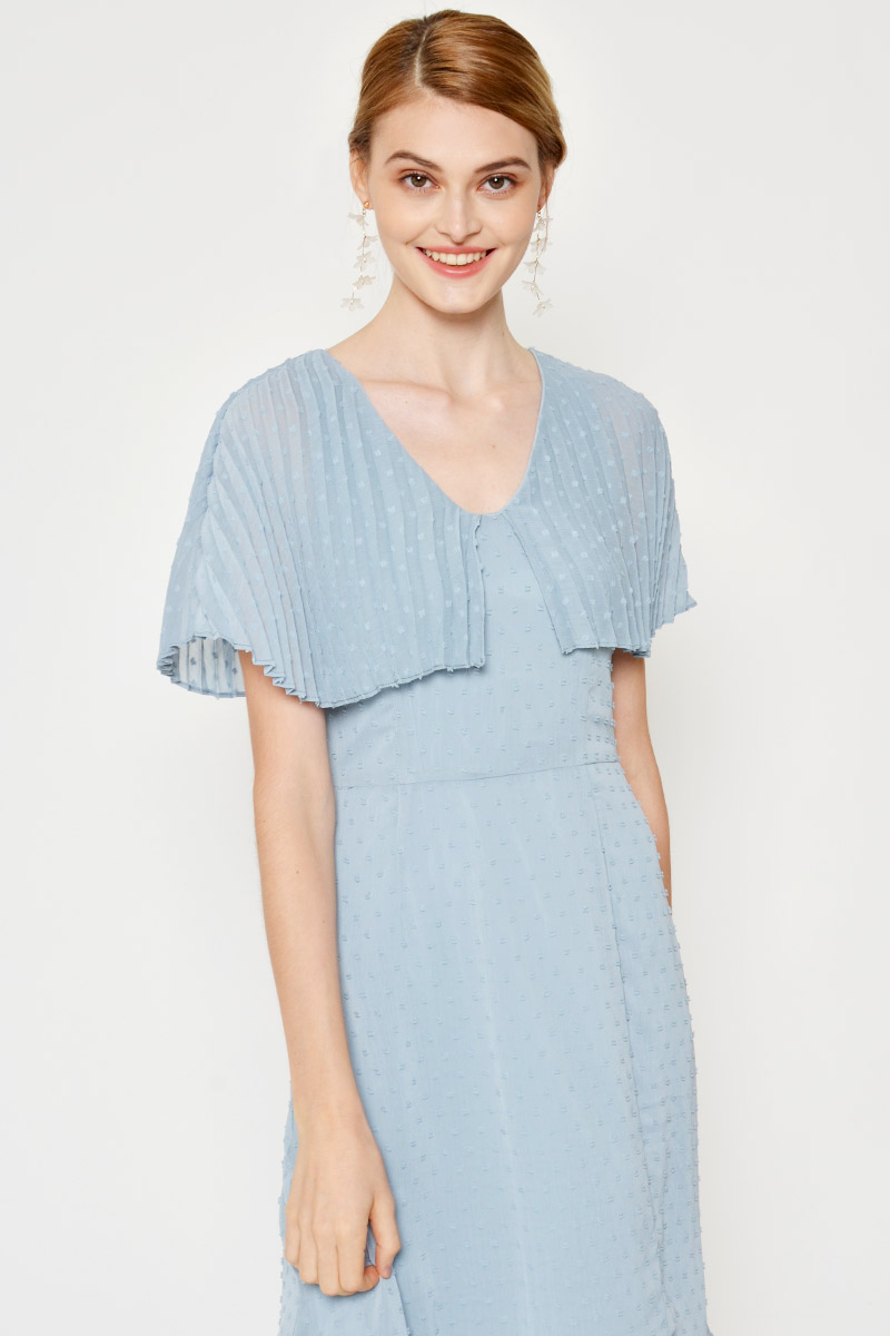 SEBREE PLEATED DOBBY DOT MIDI DRESS