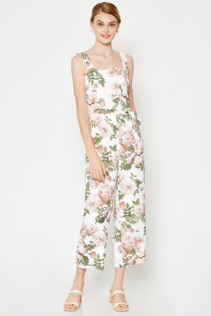 TAMSIN FLORAL JUMPSUIT W SASH