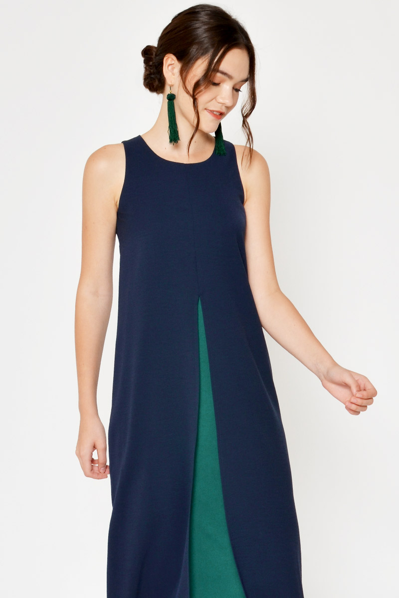 ZABRINA CONTRAST ORIGAMI MIDI DRESS