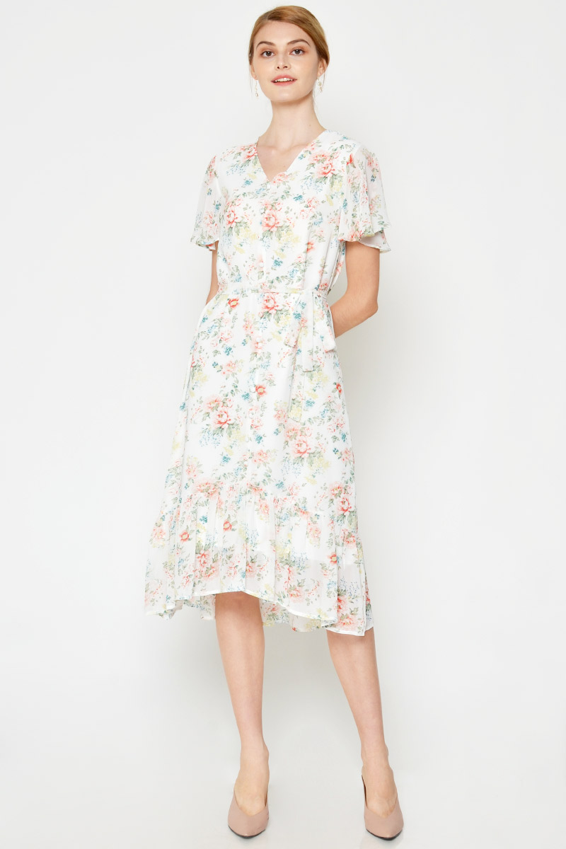 BRIANNA FLORAL MIDI DRESS W SASH
