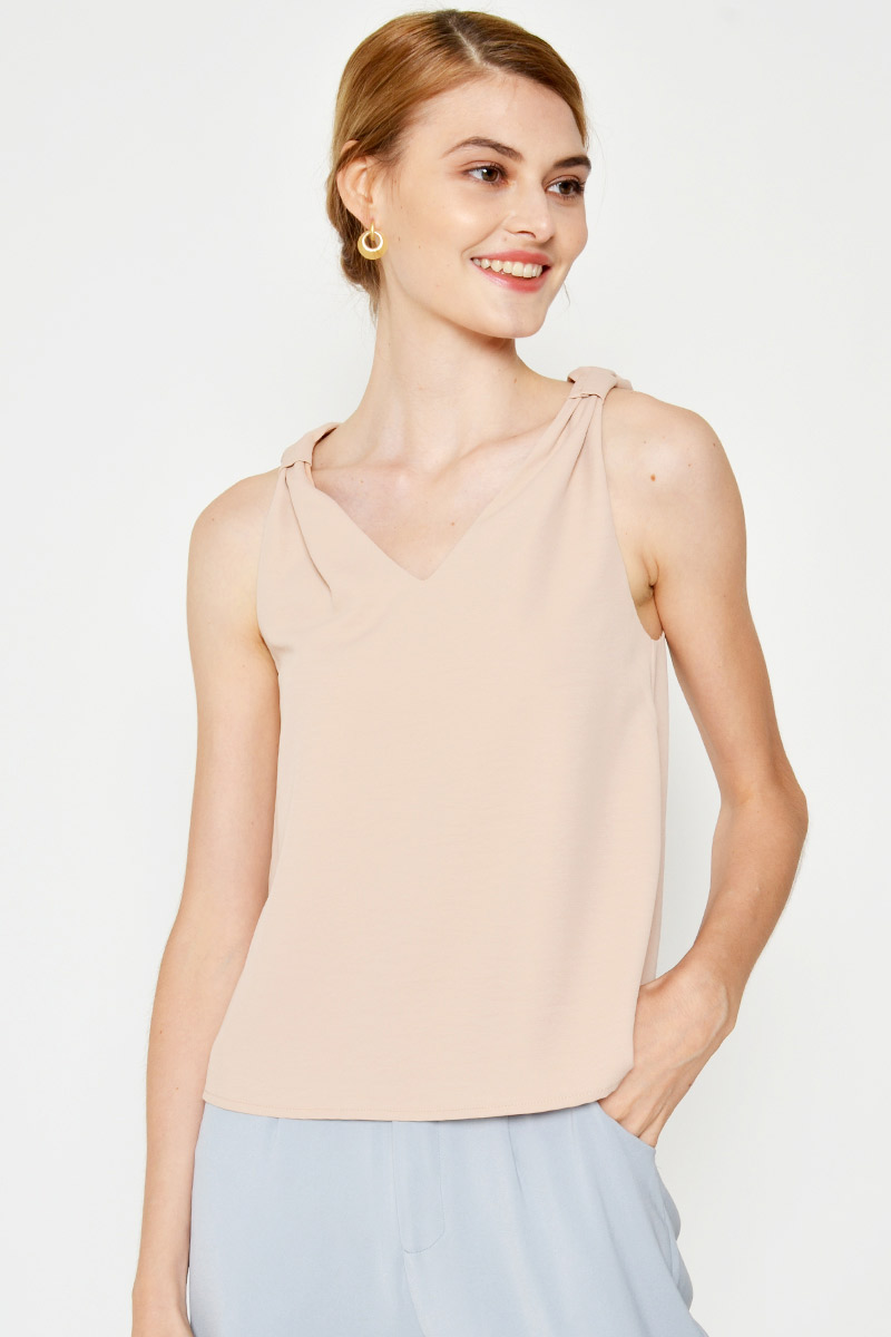 ELSBETH RUCHED STRAP TOP