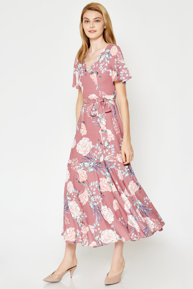 ROSELLA MAXI FLORAL WRAP DRESS