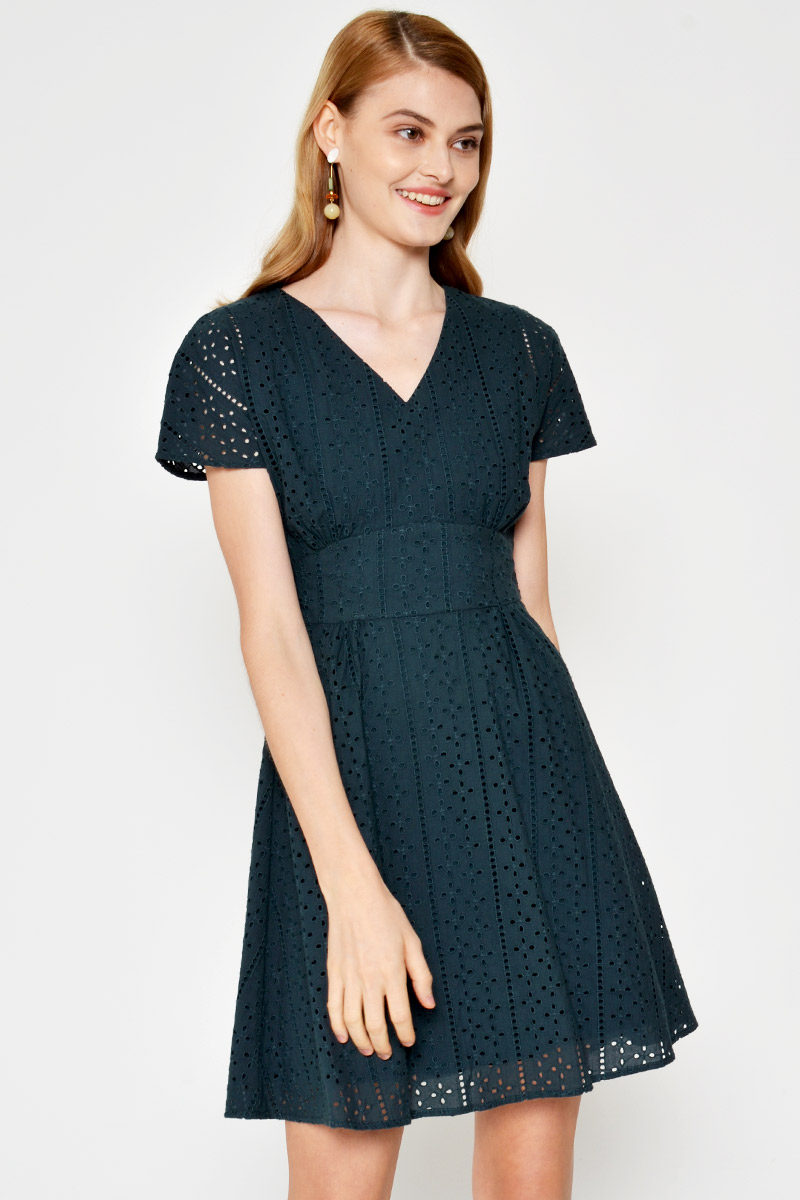 SIMONE EYELET BACK TIE FLARE DRESS