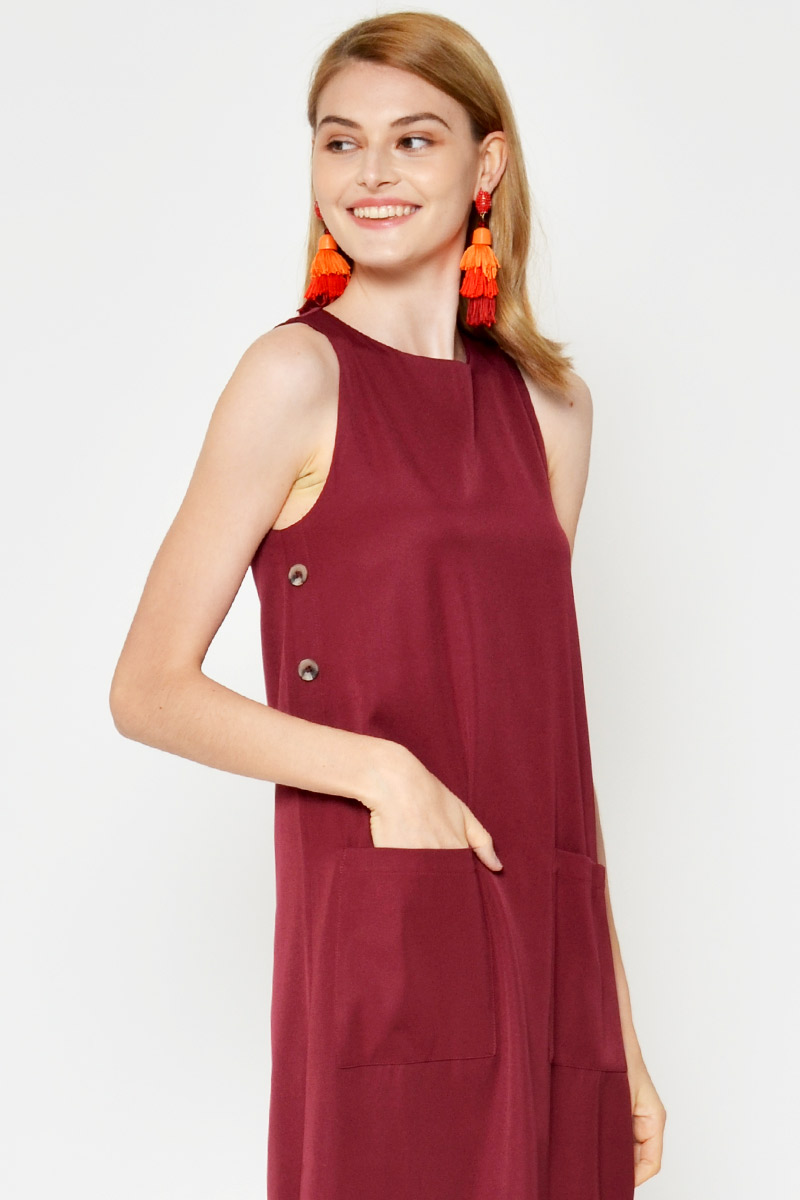VERENA SIDE BUTTONS MIDI DRESS