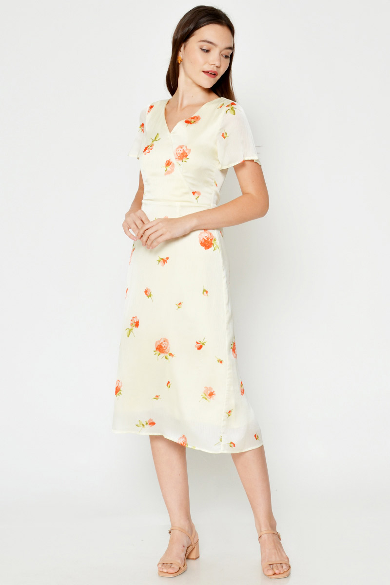 BRIA FLORAL WRAP MIDI DRESS
