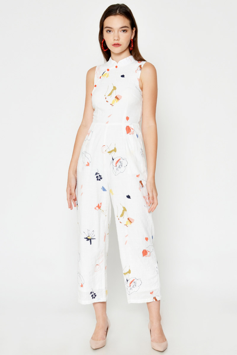 DENIRO ABSTRACT CHEONGSAM JUMPSUIT