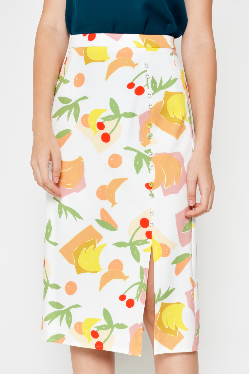 DILISA FRUIT PRINT SIDE SLIT MIDI SKIRT