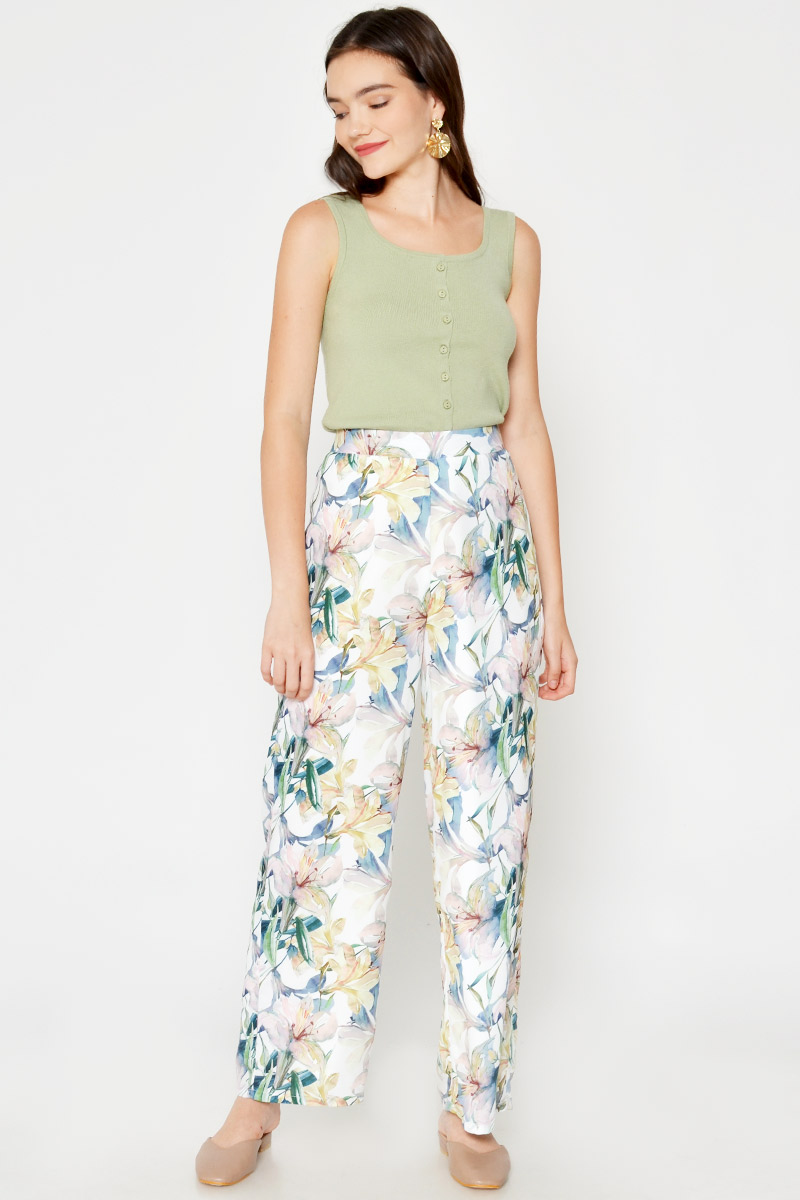 ELSA FLORAL HIGHWAIST FLARE PANTS