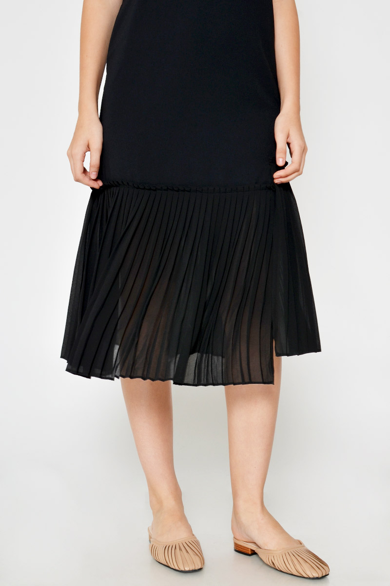 ELSIE PLEATED HEM MIDI DRESS