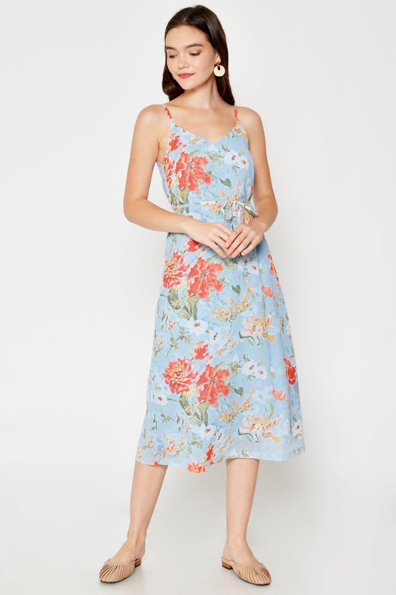 EVELYN FLORAL MIDI DRESS W SASH