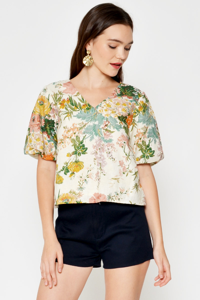 FLORELLA FLORAL PUFF SLEEVE TOP