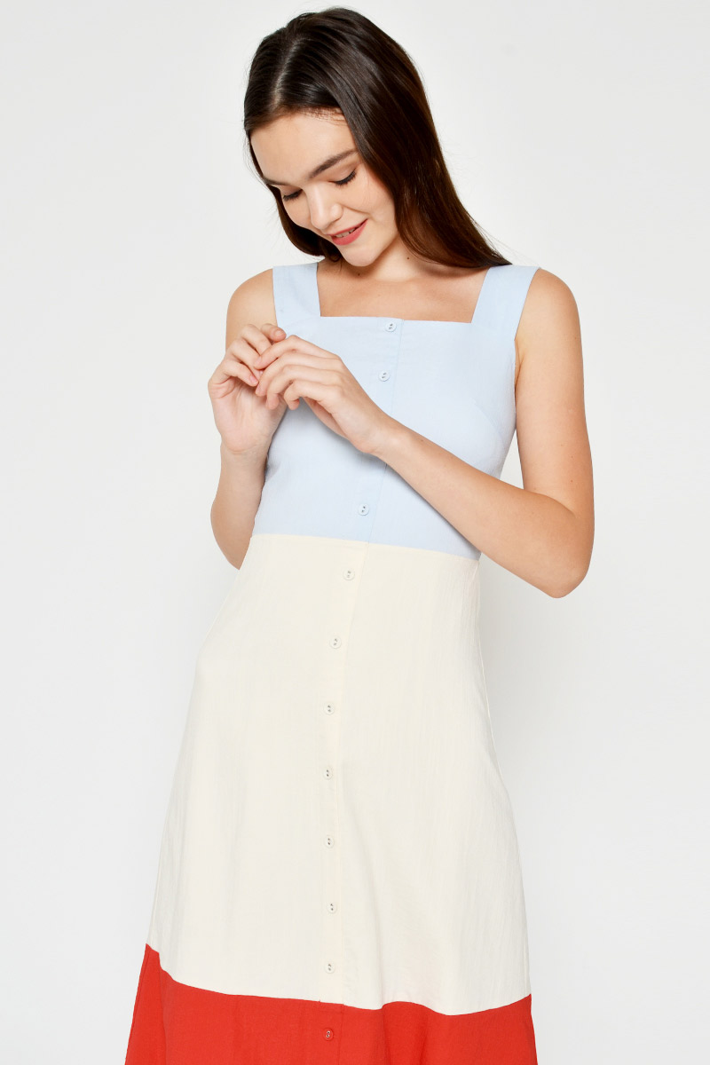 GENEVIEVE COLOURBLOCK MIDI DRESS