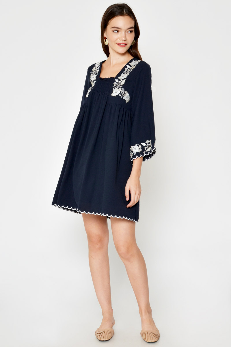 ISADOR FLORAL EMBROIDERY DRESS