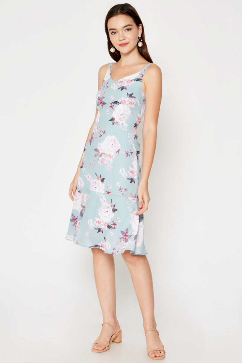 JOANNE FLORAL FLOUNCE DRESS