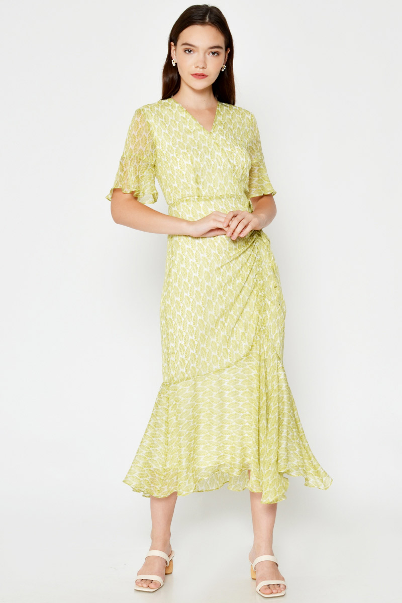 MISA LEAF PRINT RUCHED MAXI DRESS