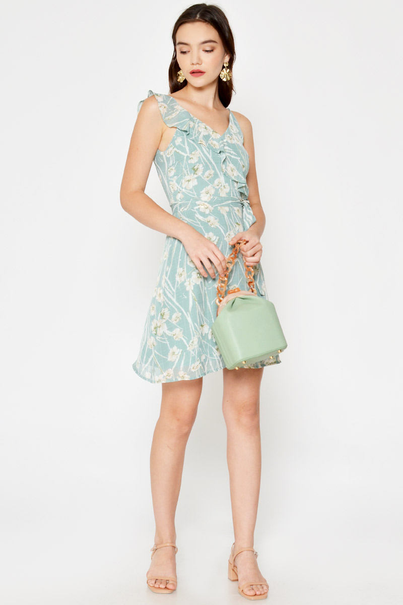 NADETTE FLORAL RUFFLE LAYERED DRESS
