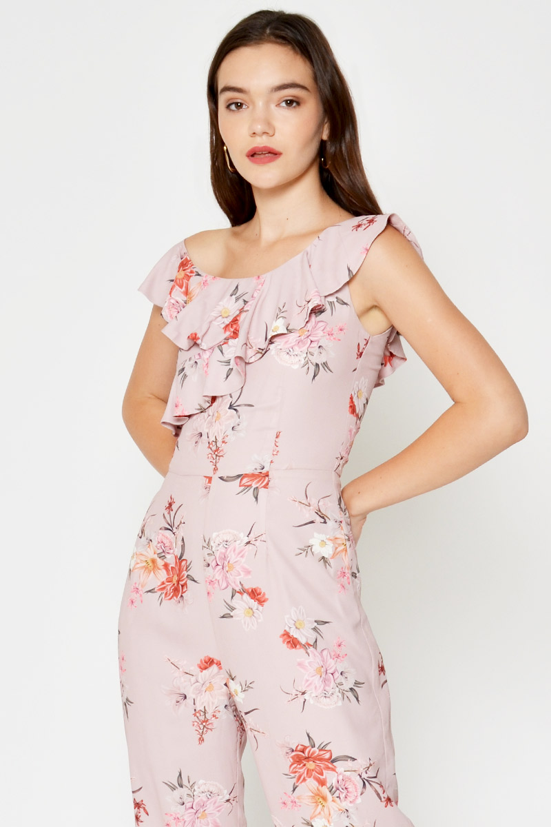 RAYNA FLORAL TOGA JUMPSUIT