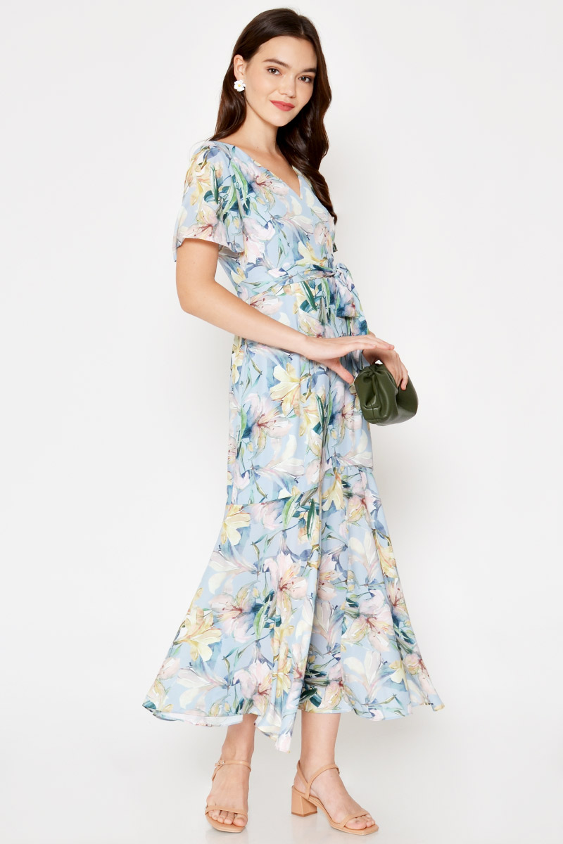 *BACKORDER* SINCLAIR FLORAL WRAP MAXI DRESS W SASH